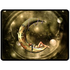 Steampunk Lady  In The Night With Moons Double Sided Fleece Blanket (large)  by FantasyWorld7