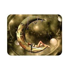 Steampunk Lady  In The Night With Moons Double Sided Flano Blanket (mini)  by FantasyWorld7