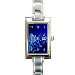 Floral Design, Cherry Blossom Blue Colors Rectangle Italian Charm Watch by FantasyWorld7