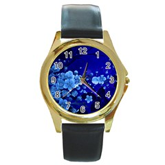 Floral Design, Cherry Blossom Blue Colors Round Gold Metal Watch by FantasyWorld7