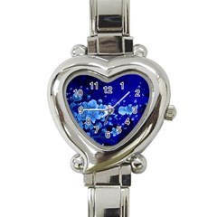 Floral Design, Cherry Blossom Blue Colors Heart Italian Charm Watch by FantasyWorld7