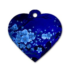 Floral Design, Cherry Blossom Blue Colors Dog Tag Heart (one Side) by FantasyWorld7