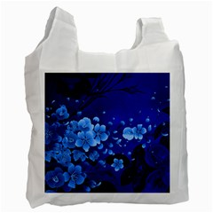 Floral Design, Cherry Blossom Blue Colors Recycle Bag (one Side) by FantasyWorld7