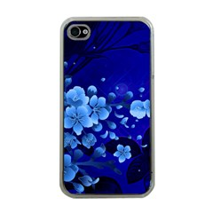 Floral Design, Cherry Blossom Blue Colors Apple Iphone 4 Case (clear) by FantasyWorld7