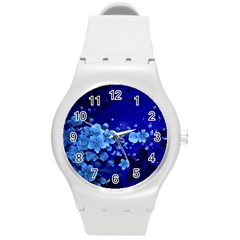 Floral Design, Cherry Blossom Blue Colors Round Plastic Sport Watch (m) by FantasyWorld7