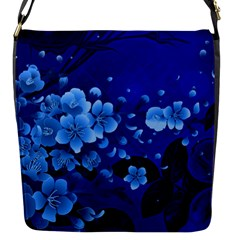 Floral Design, Cherry Blossom Blue Colors Flap Messenger Bag (s) by FantasyWorld7
