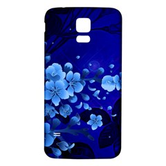 Floral Design, Cherry Blossom Blue Colors Samsung Galaxy S5 Back Case (white) by FantasyWorld7