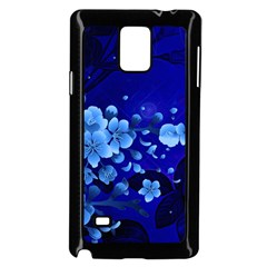 Floral Design, Cherry Blossom Blue Colors Samsung Galaxy Note 4 Case (black) by FantasyWorld7