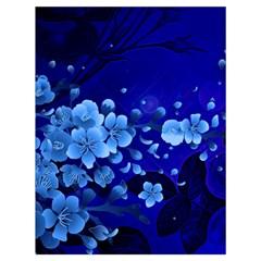 Floral Design, Cherry Blossom Blue Colors Drawstring Bag (large) by FantasyWorld7
