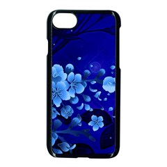 Floral Design, Cherry Blossom Blue Colors Apple Iphone 7 Seamless Case (black) by FantasyWorld7