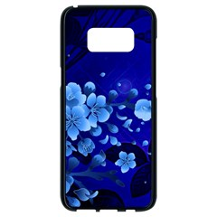 Floral Design, Cherry Blossom Blue Colors Samsung Galaxy S8 Black Seamless Case by FantasyWorld7