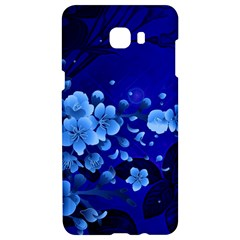 Floral Design, Cherry Blossom Blue Colors Samsung C9 Pro Hardshell Case  by FantasyWorld7