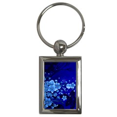 Floral Design, Cherry Blossom Blue Colors Key Chains (rectangle)  by FantasyWorld7