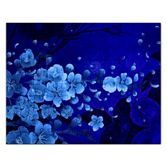Floral Design, Cherry Blossom Blue Colors Rectangular Jigsaw Puzzl
