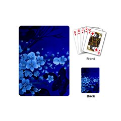 Floral Design, Cherry Blossom Blue Colors Playing Cards (mini)  by FantasyWorld7