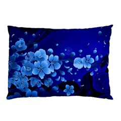 Floral Design, Cherry Blossom Blue Colors Pillow Case (two Sides) by FantasyWorld7