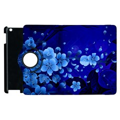 Floral Design, Cherry Blossom Blue Colors Apple Ipad 3/4 Flip 360 Case by FantasyWorld7