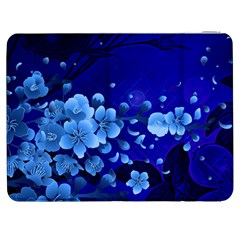 Floral Design, Cherry Blossom Blue Colors Samsung Galaxy Tab 7  P1000 Flip Case by FantasyWorld7