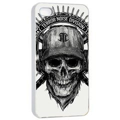 Skull Helmet Drawing Apple Iphone 4/4s Seamless Case (white) by amphoto
