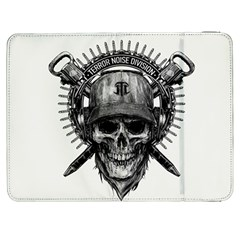 Skull Helmet Drawing Samsung Galaxy Tab 7  P1000 Flip Case by amphoto