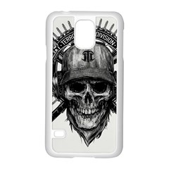Skull Helmet Drawing Samsung Galaxy S5 Case (white) by amphoto