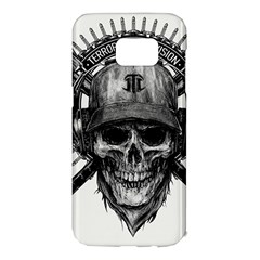 Skull Helmet Drawing Samsung Galaxy S7 Edge Hardshell Case by amphoto