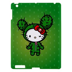 Vector Cat Kitty Cactus Green  Apple Ipad 3/4 Hardshell Case by amphoto