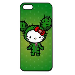 Vector Cat Kitty Cactus Green  Apple Iphone 5 Seamless Case (black) by amphoto