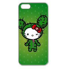Vector Cat Kitty Cactus Green  Apple Seamless Iphone 5 Case (clear)