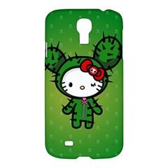 Vector Cat Kitty Cactus Green  Samsung Galaxy S4 I9500/i9505 Hardshell Case by amphoto