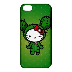 Vector Cat Kitty Cactus Green  Apple Iphone 5c Hardshell Case by amphoto