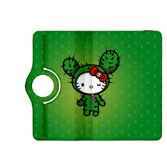 Vector Cat Kitty Cactus Green  Kindle Fire Hdx 8 9  Flip 360 Case