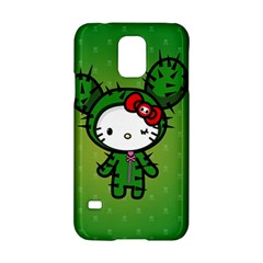 Vector Cat Kitty Cactus Green  Samsung Galaxy S5 Hardshell Case  by amphoto