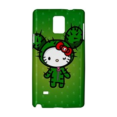Vector Cat Kitty Cactus Green  Samsung Galaxy Note 4 Hardshell Case by amphoto