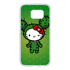 Vector Cat Kitty Cactus Green  Samsung Galaxy S7 Edge White Seamless Case by amphoto