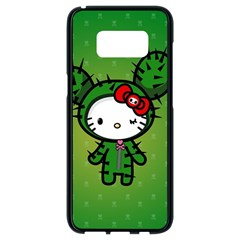 Vector Cat Kitty Cactus Green  Samsung Galaxy S8 Black Seamless Case by amphoto