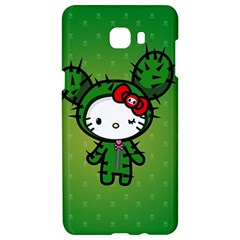 Vector Cat Kitty Cactus Green  Samsung C9 Pro Hardshell Case  by amphoto