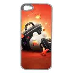 Suitcase Orange Red Black White  Apple Iphone 5 Case (silver)