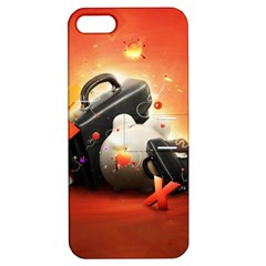 Suitcase Orange Red Black White  Apple Iphone 5 Hardshell Case With Stand by amphoto