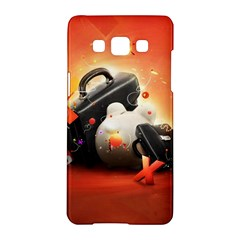 Suitcase Orange Red Black White  Samsung Galaxy A5 Hardshell Case  by amphoto