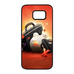 Suitcase Orange Red Black White  Samsung Galaxy S7 Edge Black Seamless Case