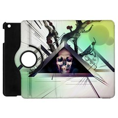 Skull Triangle Wood  Apple Ipad Mini Flip 360 Case by amphoto