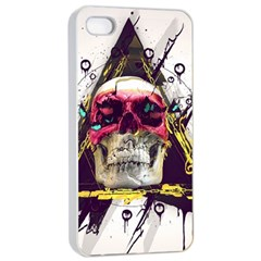 Skull Paint Butterfly Triangle  Apple Iphone 4/4s Seamless Case (white) by amphoto
