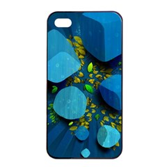 Cube Leaves Dark Blue Green Vector  Apple Iphone 4/4s Seamless Case (black) by amphoto