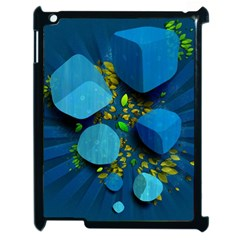 Cube Leaves Dark Blue Green Vector  Apple Ipad 2 Case (black) by amphoto