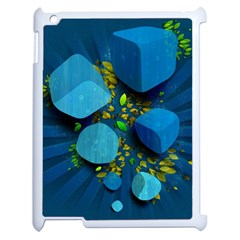 Cube Leaves Dark Blue Green Vector  Apple Ipad 2 Case (white) by amphoto