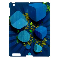 Cube Leaves Dark Blue Green Vector  Apple Ipad 3/4 Hardshell Case by amphoto
