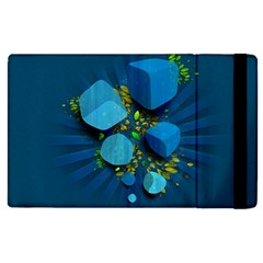 Cube Leaves Dark Blue Green Vector  Apple Ipad 2 Flip Case by amphoto