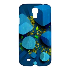 Cube Leaves Dark Blue Green Vector  Samsung Galaxy S4 I9500/i9505 Hardshell Case by amphoto