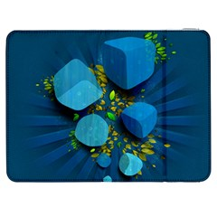 Cube Leaves Dark Blue Green Vector  Samsung Galaxy Tab 7  P1000 Flip Case by amphoto